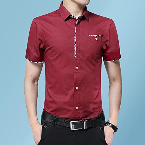 WQDS Camisa de Manga Corta para Hombre Camisa de Hombre Delgada Casual de verano-B2601 Vino_Metro