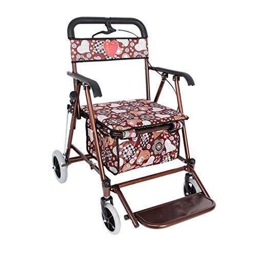 Carrito de compras El asiento del carrito de compras plegable de la scooter vieja puede tomar cuatro rondas para comprar comida y ayudar a empujar el carro pequeño cochecito mayor carrito de compras