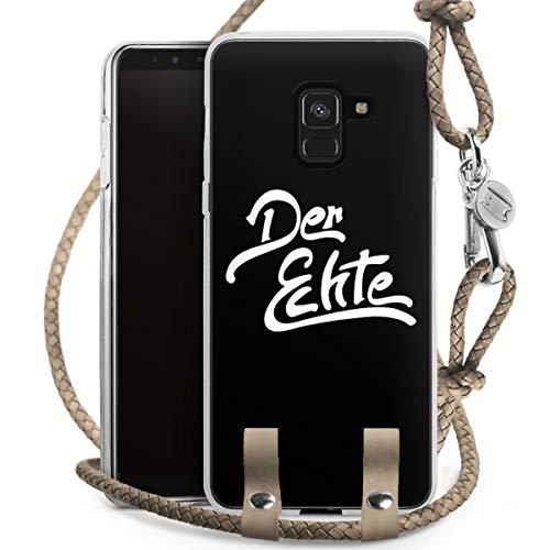 DeinDesign Carry Hülle kompatibel mit Samsung Galaxy A8 Duos 2018 Hülle mit Kordel aus Leder Handykette zum Umhängen Taupe Silber Der Echte YouTube Gamer