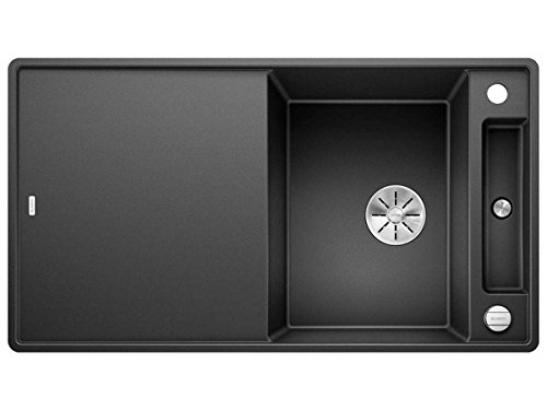 Blanco Axia III 5 S-F Anthrazit Schwarz 523 231 Granitspüle Spülbecken Küche mit Glasschneidbrett Exzenterbetätigung