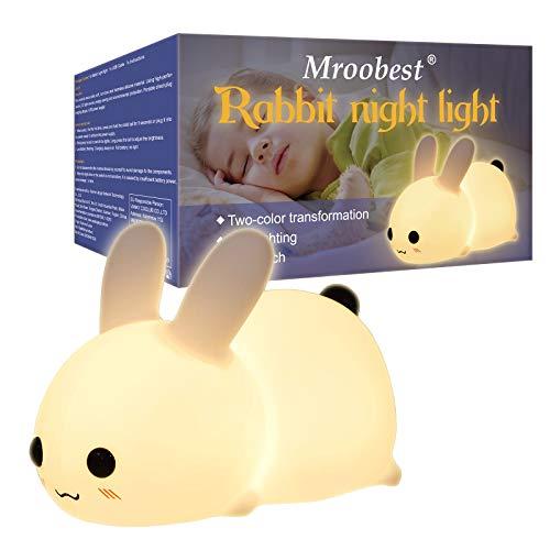 Luz Nocturna Infantil, Luz De Noche, Night Light, Versión de carga USB de la luz nocturna de conejo, Adecuada para niños, Es una buena opción para cumpleaños y regalos