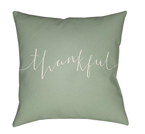 Surya Thankful Script Word Print Outdoor Pillow