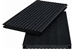 Pattern hand pattern WPC decking Solid wood plank WoodoKosXXL 20 x 200 mm anthracite rippled / smooth, double sided 10,40 € / m