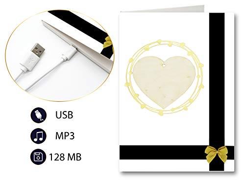 PlayMegram bespielbare Audio-Grußkarte mit USB-Anschluss, Für eigene Musik oder Sprachnachricht, Herz aus Holz, Liebesgrußkarte, Liebeskarte, Glückwunschkarte, Kreative Geschenkkarte