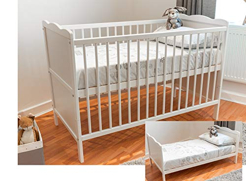 White Wood Baby Cot Bed and Baby Bed Cot Mattress Converts into a Junior Toddler Bed, 3 Possition Mattress Base