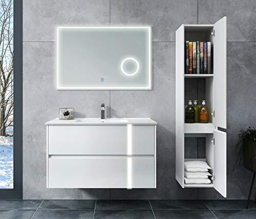 Oimex JOY Designer Badmöbel Set 90 cm, LED Spiegel mit Lupe, LED Schubladen, Unterschrank, Hochglanz Weiß, Waschtisch, auf Wunsch mit Seitenschrank, Größe: Waschtisch + LED Spiegel