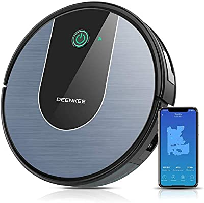 DeenKee Robot Vacuum and Mop, Wi-Fi with Alexa, High Suction, Super-Thin, Quiet, Automatic Self-Charging Robotic Vacuum Cleaner with Mapping for Pet Hair, Hard Floor, Carpet