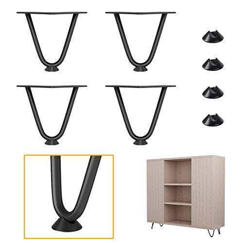 Genius Iron 4 Inches Furniture Hairpin Legs, 3/8in Rods, Metal DIY Furniture with Mid Century Industrial Style, Black, Pack of 4