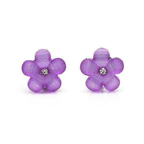 Idin - Pendientes de clip (17 x 17 mm), diseño de flor de color lila y morado