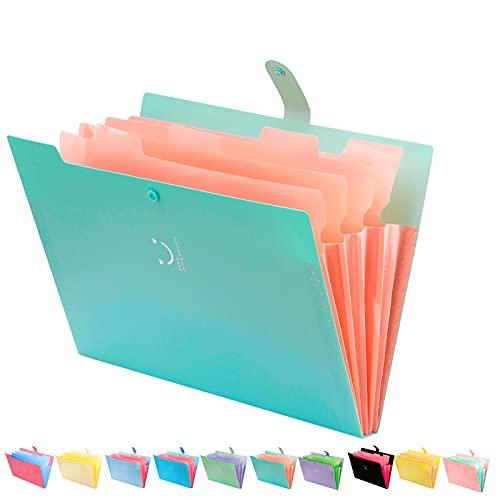 Forvencer Expanding File Folder, Jade Cute Folder for Important Documents 5 Pocket Folder Organizer with Labels Accordion Folder Letter Size Paper Organizer Folder Portable for School