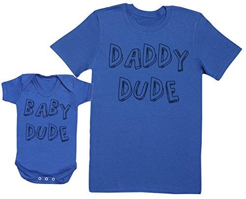 Zarlivia Clothing Baby Dude & Daddy Dude - Ensemble Père Bébé Cadeau - Hommes T-Shirt & Body bébé - Bleu - Large & 18-24 Mois