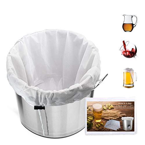 3 Pack Extra Large Brew Mesh Bag Reusable, 5 Gallon (26' x 22') Mesh Strainer Bag for Home Brewing For Fruit Cider Apple Grape Wine Beer Making Press Drawstring