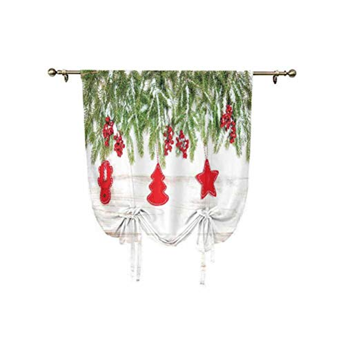 Christmas Tie Up Curtain Panels,Noel Tree Branches over Timber Board with Handmade Toy Figures and Berries Image Thermal Insulated Rod Pocket Curtain,31x47 Inch,for Home Decoration Beige Red