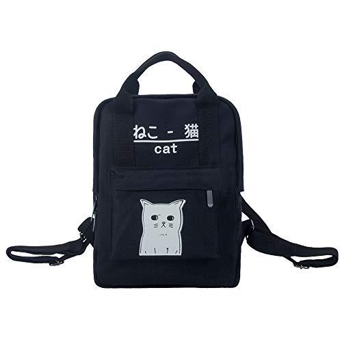 Damen Cute Japanese Katze Leinwand Rucksack, Leuchtende Nacht Entwurf Fest Farbe Einfache, Klassische Lässig Daypack Schulranzen Backpack Teenager Mädchen Reisen Rucksack Handtasche (Schwarz)