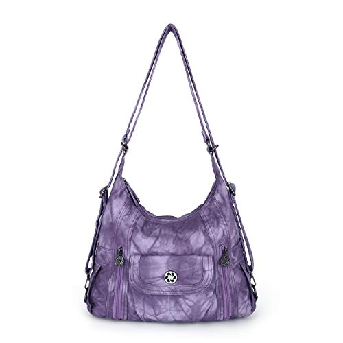 Women Handbags Shoulder Bags Washed Leather Satchel Tote Bag Mutipocket Purse (Zca0118-5#g361#18-purple)