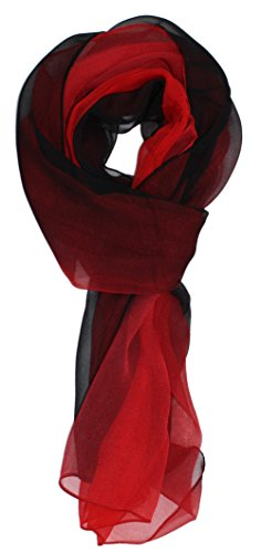 Ted and Jack - Silk Ombre Lightweight Accent Scarf in Red and Black
