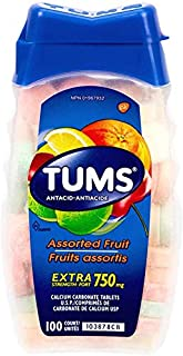 TUMS Antacid Chewable Tablets, Extra Strength, Assorted Fruit, 100 count