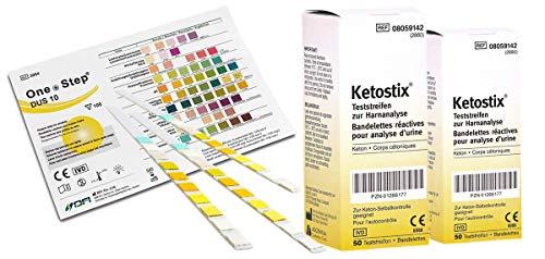 Vorteilspaket One+Step Gesundheitstest für 10 Indikatoren 15 Stück mit Referenzfarbkarte plus 100 Stk. Ascensia Diabetes Care - KETOSTIX Teststreifen