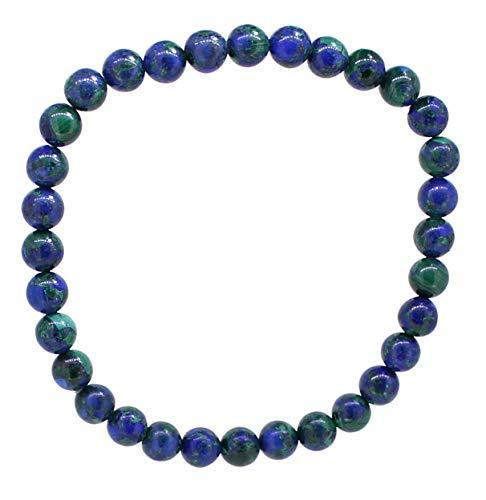 budawi® - Azurit-Malachit Armband Perle 6 mm mit Stretch-Nylonfaden, Azurit-Malachitarmband