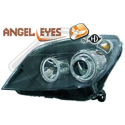 1806380, 1 paar Angel Eyes koplampen, zwart, voor Astra H van 2004 tot 2009