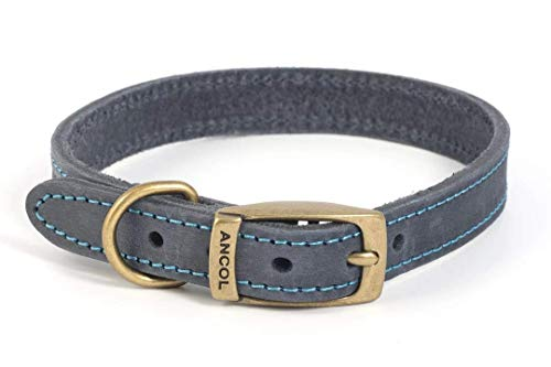 Ancol Timberwolf Leather Collar Blue 36-46cm M