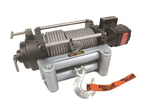 Mile Marker HI-Series Hydraulic 24 Volt DC Powered Electric Truck Winch - 12,000-Lb. Capacity, Galvanized Aircraft Cable, Model Number HI12000-24V