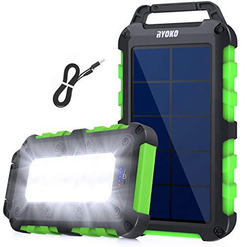 Solarladegerät Solar Powerbank 10000mAh,Schnellladung Solarladegerät mit 2 Ausgänge 2.1A,Power Bank Hohe Kapazität mit LED-Taschenlampe, Wasserdichte Solar Powerbank für Smartphones, Tablets (Grün)