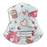 AOOEDM Pink Love Cup con postre, polaina para el cuello, calentador de invierno, tubo de esquí, bufanda, cubierta facial de lana, pañuelos faciales a prueba de viento para exteriores, deportes