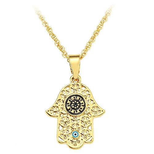Revilium Arabic Soy Luna Hamsa Hand Pendant Necklace Women Men Amulet Zinc Alloy Gold Color Hand of Fatima Choker Islamic Jewelry 60Cm