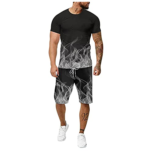 ZSNB 2021 Summer 3D Printed Men's Outfits,Fashionable Round Neck Short-Sleeved T-Shirts Shirts and Drawstring Shorts Suits,Plus Size Casual Loose Mens...