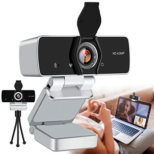 2K Webcam with Microphone,4MP HD Webcam USB Web Camera for Computer & Desktop,HD Web Cam Video Camera with Privacy Cover & Tripod,Laptop Desktop PC Camera for Video Conference Gaming Streaming Silver