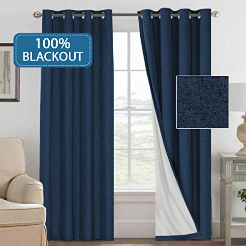 H.VERSAILTEX 100% Blackout Curtains for Bedroom Linen Textured Window Curtain Panels for Living Room Darkening Drapes Grommet Top (Sold by Pair, 52' W 84' L, Navy)