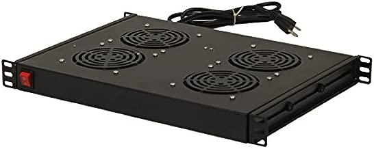 NavePoint Rack Cabinet Mounted Server 4 Fan Unit Cooling System with 4 Fans 110V Blk 1U
