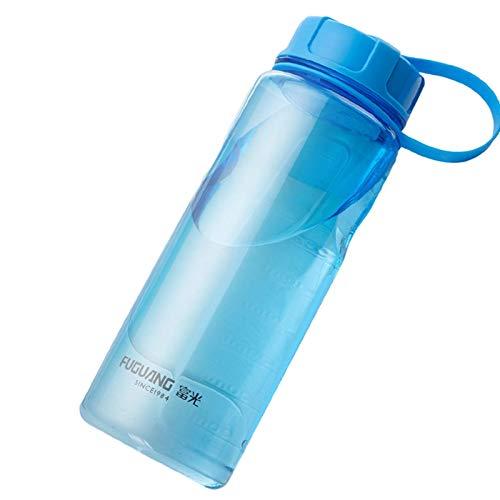Botellas de agua de gran capacidad, botella deportiva de plástico portátil para exteriores, con infusor de té, fitness a prueba de fugas (azul)