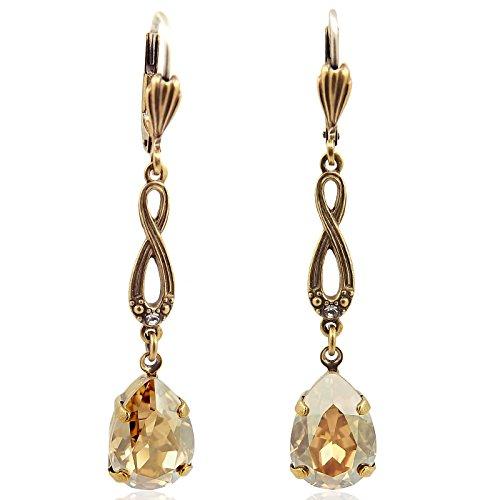 Jugendstil Ohrhänger mit Kristallen von Swarovski® Gold NOBEL SCHMUCK