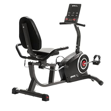 SportPlus Bicicleta Estática, Asiento Reclinable, Ordenador, Diferentes Niveles y Sensores de Pulso, Compatible con Google Street View y KinoMap, SP-RB-9500-iE
