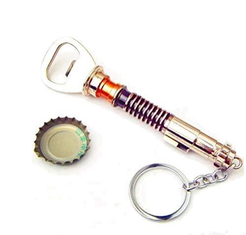 Luke Skywalkers Lichtschwert als Flaschenöffner, Edelstahloptik mit Schlüsselanhänger, sehr stabile Verarbeitung, 13cm, für die Hausbar & unterwegs - lustiges Geschenk für Star Wars Fans