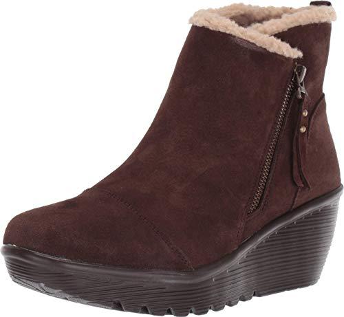 Skechers Damen PARALLEL - Zip up Wedge Casual Comfort Ankle Boot modischer Stiefel, Schokoladenbraun, 38 EU