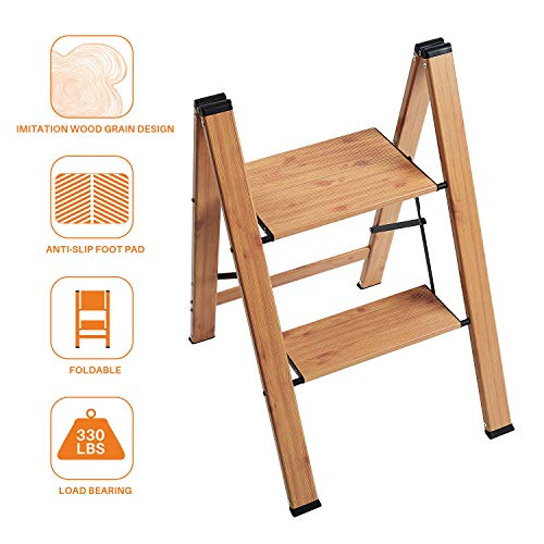 Delxo Lightweight Aluminum Woodgrain 2 Step Stool Folding Step Stool Step ladders Home and Kitchen Step Ladder Anti-Slip Sturdy and Wide Pedal Ladders 330lbs Capacity Space Saving (2020 Upgrade)
