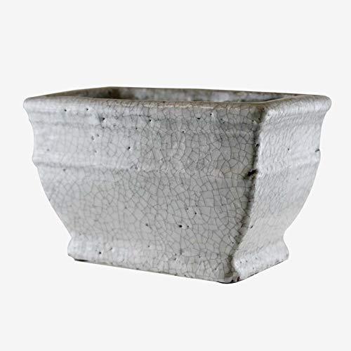 Better & Best 2662207 Jardinera de piedra blanca rectangular de cerámica, color: blanco