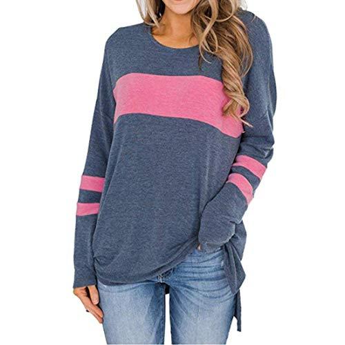 Damen Langarm Rundhals T-Shirt Elegant Loose Bequemer Tops Patchwork Casual Mode Tshirt Herbst Frühling und Herbst Neu Sweatshirt Winter Bottoming Shirt Geteilter Saum S