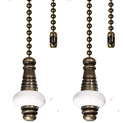 Ceiling Fan Chain Pulls Decorative 12 Inches Bronze Color With White Ceramic Pendant Extension For Ceiling Light Lamp Fan Chain (Copper)2 Pack