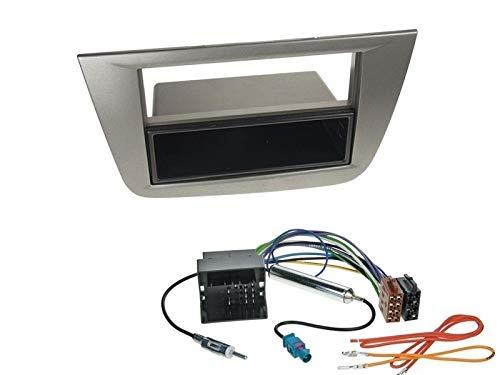 1 Din Radio Einbauset Blende Radioanschlusskabel Antennenadapter für Seat Altea 5P/5PN ab 2004 Anthrazit