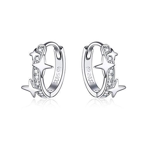 LPZW CQE498 joyería 925 Pendientes de aro de Plata esterlina clásico Redondo de Plata auténtica Zircon Claro Pendientes for Las Mujeres de Moda (Gem Color : CTE076)