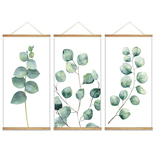 wall26 - 3 Panel Hanging Poster with Wood Frames - Watercolor Style Leaves - Ready to Hang Decorative Wall Art - 18'x36' x 3 Panels