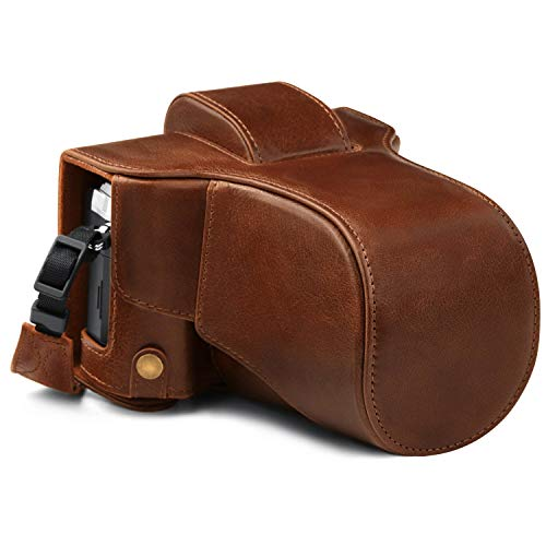 MegaGear Ever Ready MG1863 - Funda de Piel para cámara Olympus OM-D E-M5 Mark III (14-150 mm), Color marrón