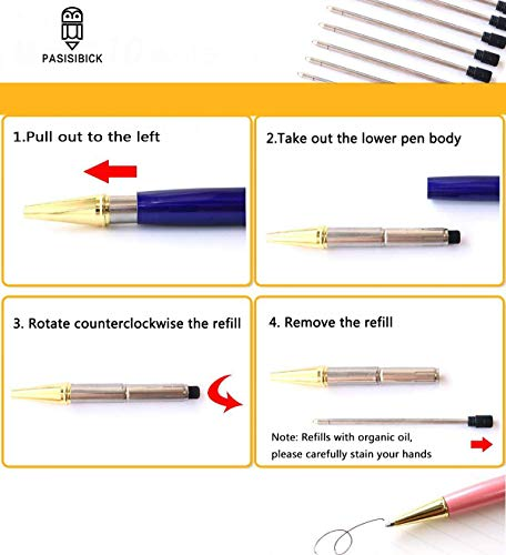 PASISIBICK Ballpoint Pens for Women,Bling Dynamic Crystal Liquid Pen with Gift Box and Black Ink(3 PCS) Photo #4