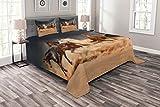 ABAKUHAUS Pferd Tagesdecke Set, Equine Themed Tiere, Set mit Kissenbezügen Kein verblassen, für Doppelbetten 264 x 220 cm, Braun