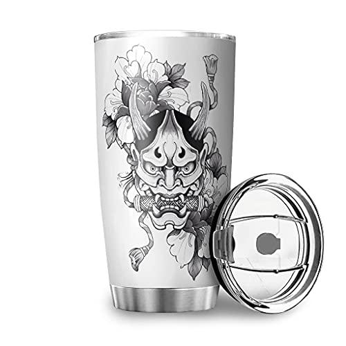 Dessionop Botella de agua japonesa de Tumbler Hannya Oni con diseño de flores, impresión para coche, taza de viaje, 20 onzas, tapa abatible de color blanco, 600 ml