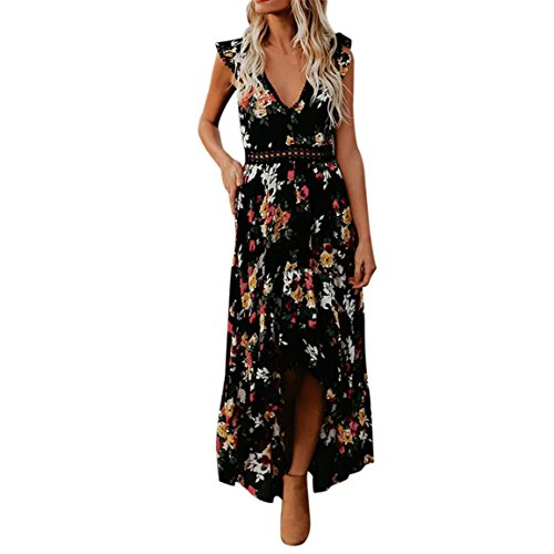 Moonuy Frauen Backless Sommerkleid Vintage Floral Flower Tiefem V-Ausschnitt Knöchellangen Asymmetrical Lace Elegant Slim Dress (EU 42/Asien 2XL, Schwarz)